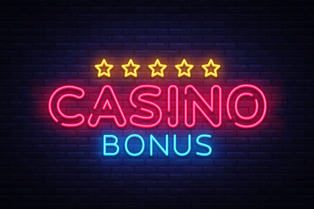 Casino Bonus Neon Text Vector. Bonus neon sign, design template, modern trend design, casino neon signboard, night bright advertising, light banner, light art. Vector illustration.