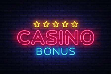 Casino Bonus Neon Text Vector. Enseigne au néon bonus, modèle de conception, design tendance moderne, enseigne au néon de casino, publicité lumineuse nocturne, bannière lumineuse, art lumineux. Illustration vectorielle.