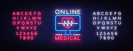 Medical Online neon sign design template. Medical Online neon emblem, light banner. Online consultation. Vector illustration. Editing text neon sign.