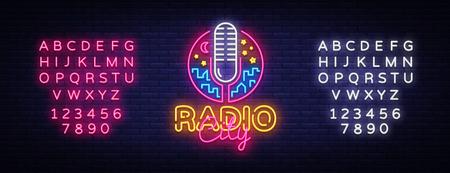 Radio Neon Logo Vector. Radio City neon sign, design template, modern trend design, night neon signboard, night bright advertising, light banner, art. Vector illustration. Editing text neon sign. Vectores