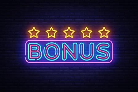 Bonus Neon Text Vector. Bonus neon sign, design template, modern trend design, night neon signboard, night bright advertising, light banner, light art. Vector illustration.
