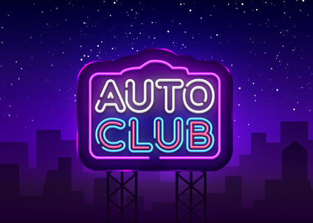Auto Club neon sign vector. Car Service design template neon sign, light banner, neon signboard, nightly bright advertising, light inscription. Vector illustration. Billboard