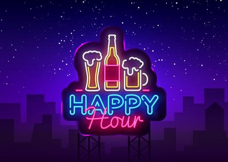 Happy Hour Leuchtreklame Vektor. Happy Hour Design Vorlage Neonschild, Nachtessen, Feierlichtbanner, Neonschild, nächtliche helle Werbung, Lichtinschrift. Vektor-Werbetafeln.