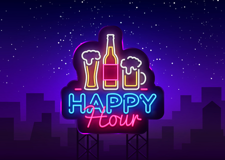 Happy Hour neon sign vector. Happy Hour Design template neon sign, Night Dinner, celebration light banner, neon signboard, nightly bright advertising, light inscription. Vector Billboards.