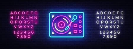 Gramophone neon signboard vector. Retro Music neon glowing symbol, Retro Style 70-80-90s Light Banner, neon icon, design element. Vector illustration. Editing text neon sign. Vector Illustration