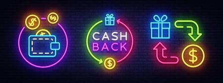 Cash Back Neon Symbols Collection Vector. Cash Back neon sign, design template, modern trend design, casino neon sign board, night bright advertising, light banner, light art. Vector illustration. Archivio Fotografico - 112227133