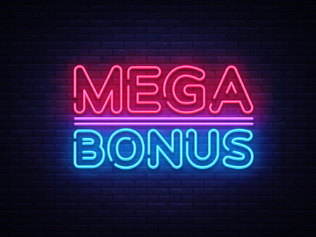 Mega Bonus neon sign vector. Bonus neon text Design template neon sign, light banner, neon signboard, nightly bright advertising, light inscription. Vector Illustration.