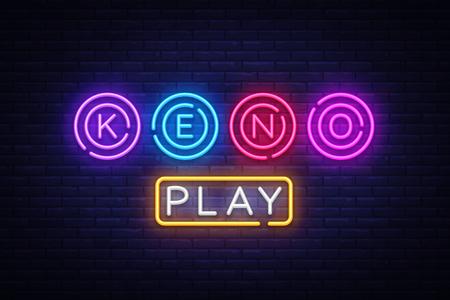 Keno Logo Vektor. Keno Lottery Leuchtreklame, Designvorlage, modernes Trenddesign, Nachtneonschild, Nachthelle Werbung, Lichtbanner, Lichtkunst. Vektorillustration