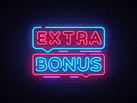 Extra Bonus neon sign vector. Bonus neon text Design template neon sign, light banner, neon signboard, nightly bright advertising, light inscription. Vector Illustration. 向量圖像