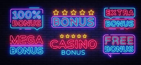 Bonus Neon Text collection Vector. Bonus Casino neon sign, design template, modern trend design, night neon signboard, night bright advertising, light banner, light art. Vector illustration.