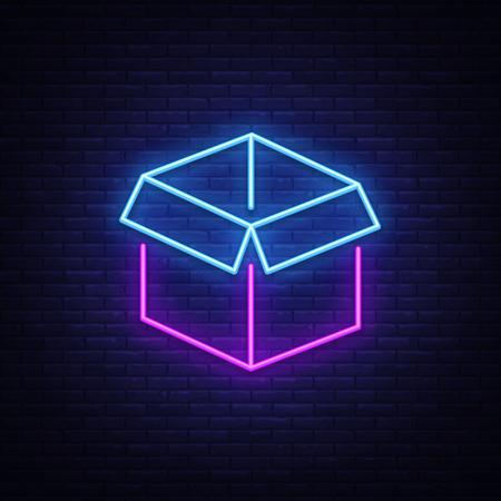 Box Neon Sign Vector. Gift neon sign, Win super prize design template, modern trend design, night neon signboard, night bright advertising, light banner, light art. Vector illustration.