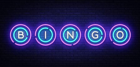Bingo neon sign vector design template. Lotto symbols neon logo, light banner design element colorful modern design trend, night bright advertising, bright sign. Vector illustration.