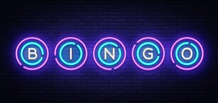 Plantilla de diseño de vector de letrero de neón de bingo. Logotipo de neón de símbolos de lotería, elemento de diseño de banner ligero colorido tendencia de diseño moderno, publicidad luminosa nocturna, letrero luminoso. Ilustración vectorial.