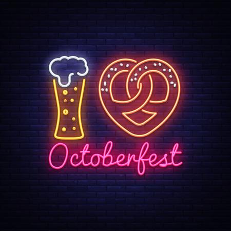 Neon Poster to oktoberfest festival vector. I Love Oktoberfest Concept Neon Sign Vintage vector engraving illustration for invitation to party. Design Template, trendy design, light banner. Vector.