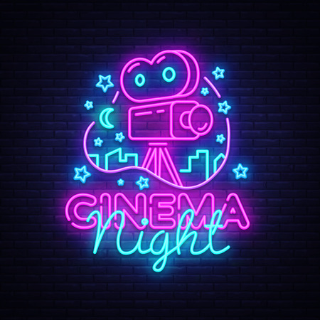 Cinema Night Neon Logo Vector. Movie Night neon sign, design template, modern trend design, night neon signboard, night light advertising, light banner, light art. Vector illustration. Vettoriali