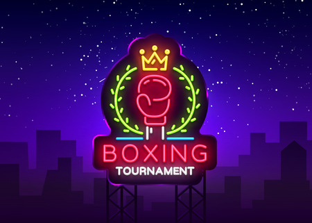 Boxing neon sign design vector template. Boxing Tournament Night Logo, Bright Neon Signboard, Design Element for Sports, Fight Night Neon, Bright Night Advertising. Vector Illustration. Billboard