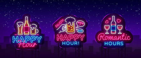Happy Hour neon sign collection vector. Happy Hour Design template neon sign, Night Dinner, celebration light banner, neon signboard, nightly bright advertising, light inscription. Vector Billboards.
