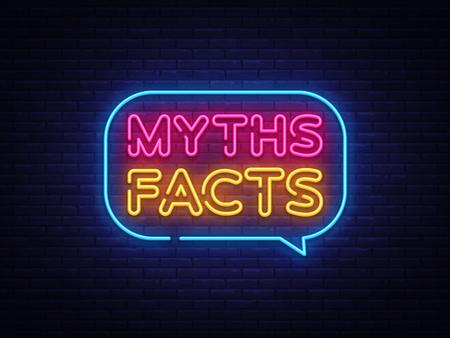 Vector de texto de neón de hechos de mitos. Letrero de neón de Myths Facts, plantilla de diseño, diseño de tendencia moderna, letrero de neón nocturno, publicidad luminosa nocturna, banner de luz, arte de luz. Ilustración de vector. Ilustración de vector