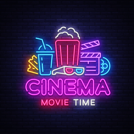 Movie Time Neon Logo Vector. Cinema Night neon sign, design template, modern trend design, night neon signboard, night light advertising, light banner, light art. Vector illustration  イラスト・ベクター素材