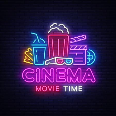 Movie Time Neon Logo Vector. Cinema Night neon sign, design template, modern trend design, night neon signboard, night light advertising, light banner, light art. Vector illustration Illustration