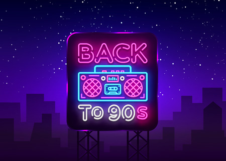 Back to 90s neon poster, card or invitation, design template. Retro tape recorder neon sign, light banner. Back to the 90s. Vector illustration in trendy 80s-90s neon style. Billboard.