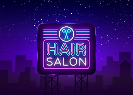 Hair Salon sign vector design template. Hairdress neon logo, light banner design element colorful modern design trend, night bright advertising, bright sign. Vector illustration. Billboard. Illustration