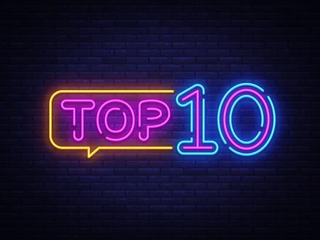 Top 10 Neon Tekst Vector. Top tien neonreclame, ontwerpsjabloon, modern trendontwerp, nachtneonuithangbord, nacht heldere reclame, lichtbanner, lichtkunst. Vector illustratie.