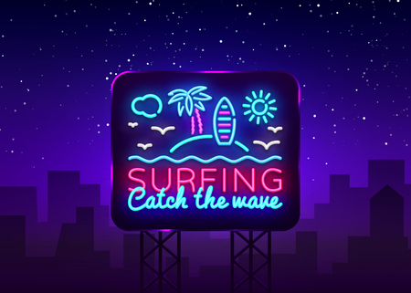 Surfing neon sign design template. Surfing Catch the wave slogan neon emblem, light banner. Summer concepts design. Smartphone in hand. Vector Billboard