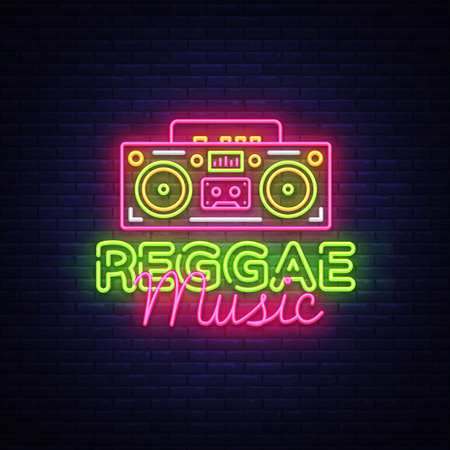 Reggae Music Neon Logo Vector. Reggae neon sign concept, design template, modern trend design, night neon signboard, night bright advertising, light banner, light art. Vector illustration