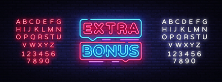 Extra Bonus neon sign vector. Bonus neon text Design template neon sign, light banner, signboard, nightly bright advertising, light inscription. Vector Illustration. Editing text neon sign. Vektorové ilustrace