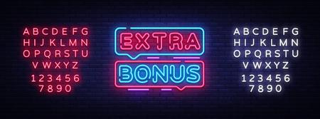 Extra Bonus wektor znak neon. Bonus neonowy tekst Projekt szablonu neonowy znak, jasny baner, szyld, nocna jasna reklama, lekki napis. Ilustracja wektorowa. Edytowanie tekstu neonu. Ilustracje wektorowe