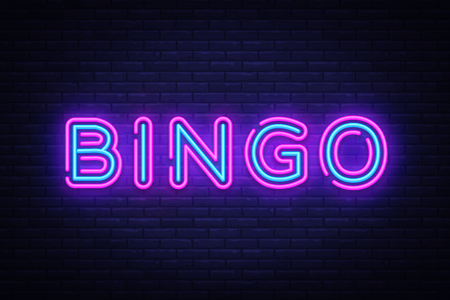 Bingo Neon text Vector. Lottery neon sign, design template, modern trend design, night neon signboard, night bright advertising, light banner, light art. Vector illustration