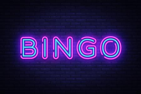 Vector de texto de neón de bingo. Letrero de neón de lotería, plantilla de diseño, diseño de tendencia moderna, letrero de neón nocturno, publicidad luminosa nocturna, banner de luz, arte de luz. Ilustración vectorial