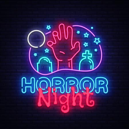 Horror Night neon sign vector. Halloween Poster Design template neon sign, Horror light banner, neon signboard, nightly bright advertising, light inscription. Vector Illustration.
