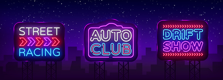 Big collection Racing neon sign vector design template. Street Racing neon text, light banner design element colorful modern design trend, night bright advertising, bright sign. Vector Billboards.