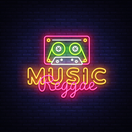 Reggae Music neon sign vector. Reggae Design template neon sign, summer light banner, neon signboard, nightly bright advertising, light inscription. Vector Illustration. Ilustração