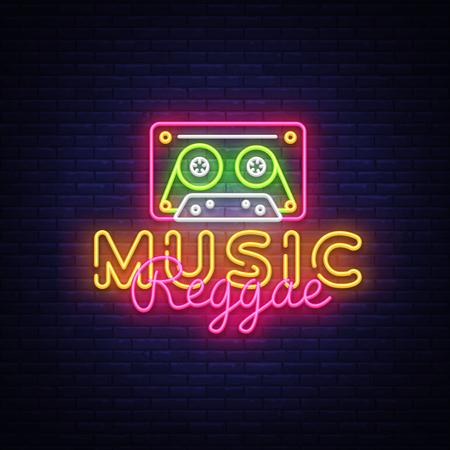 Reggae Music neon sign vector. Reggae Design template neon sign, summer light banner, neon signboard, nightly bright advertising, light inscription. Vector Illustration. Illustration