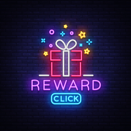 Reward Neon Sign Vector. Gift neon sign, Win super prize design template, modern trend design, night neon signboard, night bright advertising, light banner, light art. Vector illustration.