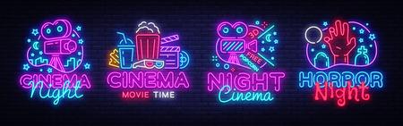 Cinema night set neon sing, label and logo. Cinema banner Design template, logo, emblem and label. Bright signboard, nightly bright advertising. Movie logo. Vector illustration.