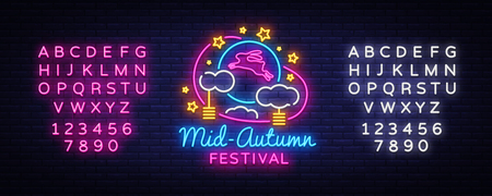 Mid autumn festival design template vector. Happy Mid autumn greting card, Light banner, neon style. Vector illustration moon rabbits for celebration Mid Autumn Festival. Editing text neon sign.