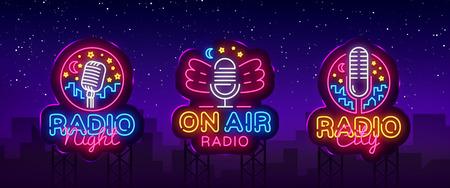 Vector de colección de letreros de neón de radio. Logos de neón de Radio Night, plantilla de diseño, diseño de tendencia moderna, letrero de neón de Radio, publicidad luminosa nocturna, banner de luz. Ilustración vectorial Vallas publicitarias.