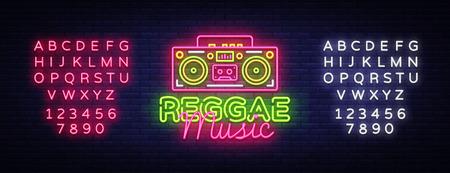 Reggae Music Neon Logo Vector. Reggae neon sign concept, design template, modern trend design, night neon signboard, night bright advertising, light banner, light art. Vector. Editing text neon sign.