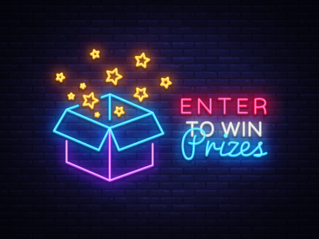 Enter to Win Prizes Neon Sign Vector. Gift neon sign, Win super prize design template, modern trend design, night neon signboard, night bright advertising, light banner, light art. Vector illustration