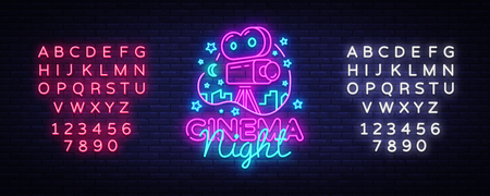 Cinema Night Neon Logo Vector. Movie Night neon sign, design template, modern trend design, night neon signboard, night light advertising, light banner, light art. Vector. Editing text neon sign.