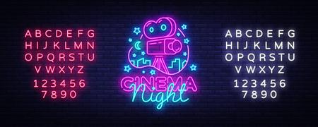 Cinema Night Neon Logo Vector. Movie Night neon sign, design template, modern trend design, night neon signboard, night light advertising, light banner, light art. Vector. Editing text neon sign.