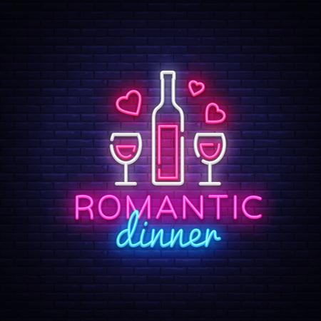 Romantic Dinner Neon Logo Vector. Wine neon sign, design template, modern trend design, night neon signboard, night light advertising, light banner, light art. Vector illustration. Illustration