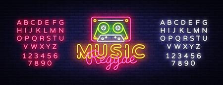 Reggae Music neon sign vector. Reggae Design template neon sign, summer light banner, neon signboard, nightly bright advertising, light inscription. Vector Illustration. Editing text neon sign.