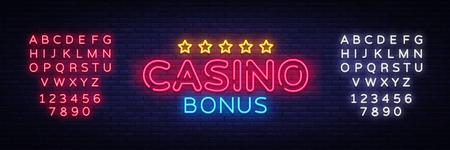Casino Bonus Neon Text Vector. Bonus neon sign, design template, modern trend design, casino neon signboard, night bright advertising, light banner, light art. Vector. Editing text neon sign. Ilustrace