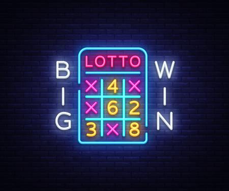 Lottery Neon Logo Vector. Lotto neon sign, design template, modern trend design, night neon signboard, night bright advertising, light banner, light art. Vector illustration
