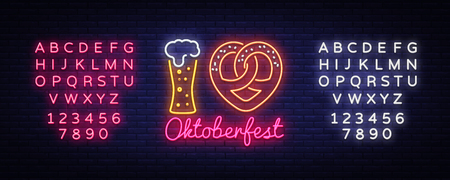 Neon Poster to oktoberfest festival vector. I Love Oktoberfest Concept Neon Sign vector engraving illustration for invitation to party. Design Template, light banner. Vector. Editing text neon sign